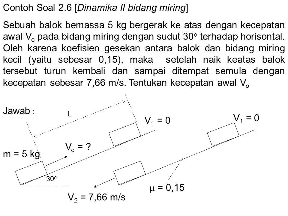 Contoh Soal 2.6 [Dinamika II bidang miring]